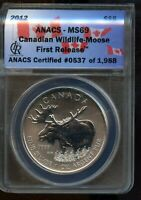 2012 ANACS MS 69 CANADIAN WILDLIFE   MOOSE FIRST RELEASE SIL