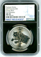 2019 $5 CANADA 1 OZ SILVER GRIZZLY BEAR NGC MS70  FIRST RELE