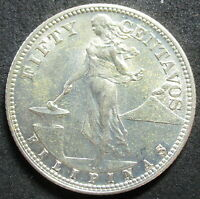 1944 S PHILIPPINES SILVER FIFTY CENTAVO COIN