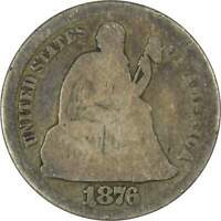 1876 CC 10C SEATED LIBERTY SILVER DIME COIN AG ABOUT GOOD