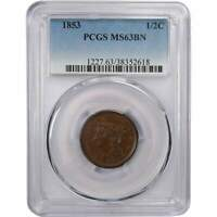 1853 1/2C BRAIDED HAIR HALF CENT PENNY COIN MINT STATE 63 BN PCGS