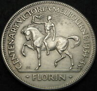 AUSTRALIA 1 FLORIN ND  1934 1935    SILVER   VICTORIA AND ME