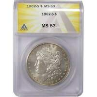 1902 S MORGAN DOLLAR MINT STATE 63 ANACS 90 SILVER $1 US COIN COLLECTIBLE