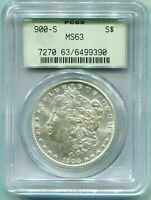 1900-S MORGAN SILVER DOLLAR S$1 PCGS MINT STATE 63 MINT STATE 63 OLD GREEN HOLDER OGH  DATE