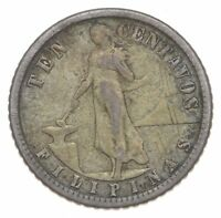 SILVER ROUGHLY SIZE OF DIME 1907 PHILIPPINES 10 CENTAVOS WOR