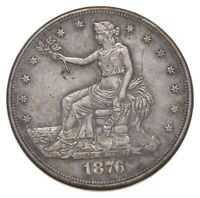 1876 CC SEATED LIBERTY SILVER TRADE DOLLAR   CHARLES COIN COLLECTION  111