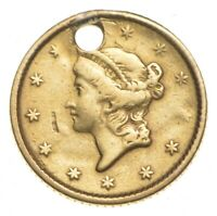 1852 $1.00 LIBERTY HEAD GOLD   HOLED   CHARLES COIN COLLECTI