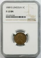 1909-S 1C NGC F 12 BN LINCOLN WHEAT CENT