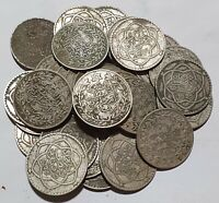 ONE UNCLEANED SILVER COIN OF 1/4 RIAL 2.5 DIRHAMS MLY HAFID 1329 AH PARIS MINT