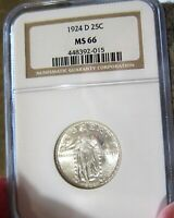 1924-D STANDING LIBERTY QUARTER NGC MINT STATE 66 WITH