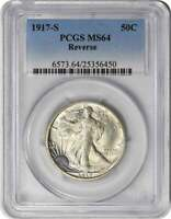 1917-S WALKING LIBERTY SILVER HALF DOLLAR REVERSE MINT STATE 64 PCGS