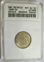 LOT OF ONE ANACS CERTIFIED UNC 1868 SHIELD NICKEL COIN