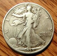 1939 LIBERTY WALKING SILVER HALF DOLLAR  CIRCULATED COIN 1