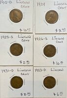 LOT OF 6 LINCOLN CENT WHEAT PENNIES 1C 1912 D 1924 1925 S 1926 S 1931 D 1933 D