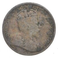 SILVER ROUGHLY THE SIZE OF A DIME 1909 CANADA 5 CENTS WORLD