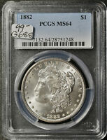 1882 MORGAN SILVER DOLLAR.  IN PCGS HOLDER.  MINT STATE 64.  G688
