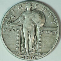 1930-P STANDING LIBERTY SILVER QUARTER / HIGHER GRADE / LAST YEAR ISSUED / Q107