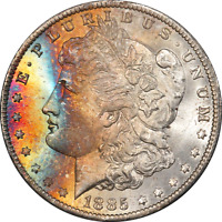 1885-O MORGAN SILVER DOLLAR, GORGEOUS RAINBOW TONED PLUS GRADE, PCGS MINT STATE 66 CAC