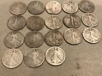 UNITED STATES EIGHTEEN 18 WALKING LIBERTY HALF DOLLAR 90 PURE SILVER COINS