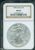 1998 AMERICAN SILVER EAGLE S$1 ASE NGC MINT STATE 69 MINT STATE 69 PREMIUM QUALITY PQ