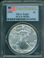 1991 AMERICAN SILVER EAGLE ASE S$1 PCGS MINT STATE 69 NEAR PERFECT FIRST STRIKE FS