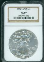 2001 AMERICAN SILVER EAGLE S$1 ASE NGC MINT STATE 69 MINT STATE 69 PREMIUM QUALITY PQ