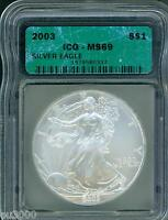 2003 AMERICAN SILVER EAGLE ASE S$1 ICG MINT STATE 69 MINT STATE 69 BEAUTIFUL PREMIUM QUALITY PQ