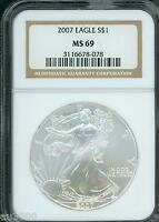 2007 AMERICAN SILVER EAGLE ASE S$1 NGC MINT STATE 69 MINT STATE 69 PQ BEAUTIFUL