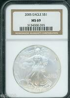 2005 AMERICAN SILVER EAGLE ASE S$1 NGC MINT STATE 69 MINT STATE 69 PQ BEAUTIFUL