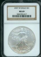 2007-W BURNISHED AMERICAN SILVER EAGLE ASE NGC MINT STATE 69 S$1 MINT STATE 69 BEAUTIFUL