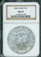 2002 AMERICAN SILVER EAGLE ASE S$1 NGC MINT STATE 69 MINT STATE 69 PQ BEAUTIFUL