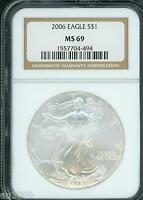 2006 AMERICAN SILVER EAGLE ASE S$1 NGC MINT STATE 69 MINT STATE 69 PQ BEAUTIFUL