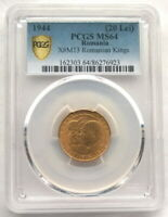 ROMANIA 1944 KINGS 20 LEI PCGS MINT STATE 64 GOLD COIN,UNC