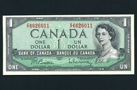 1954 ISSUE CANADA UNCIRCULATED 1 DOLLAR BANK NOTE S/N EF6626011