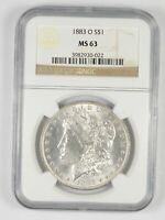 CHOICE UNC 1883-O MORGAN SILVER DOLLAR - GRADED NGC MINT STATE 63 MINT STATE 63 - NEW ORLEANS
