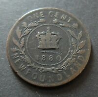 1880 NEWFOUNDLAND ONE CENT COIN CIRCULATED CONDITION LOT66