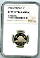1986 CANADA 5 CENT NGC PF69 ULTRA CAMEO NICKEL PROOF POP ONL