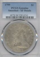 1799 DRAPED BUST DOLLAR PCGS EXTRA FINE  DETAILS SMOOTHED