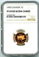 1995 CANADA CENT NGC PF69 RD PROOF PENNY LY  CERT 001