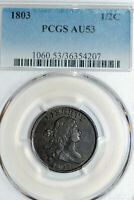ONE 1803 US HALF CENT THAT PCGS GRADED AU53 STOCK : 36354207