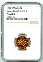 1965 CANADA CENT SMALL BEADS BLUNT 5 NGC PL64 RD PROOF LIKE