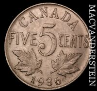 CANADA: 1936 FIVE CENTS   SCARCE  BETTER DATE  NR8685