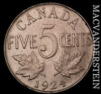 CANADA: 1924 FIVE CENTS   SCARCE  BETTER DATE  NR8681