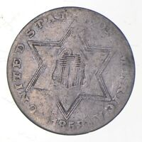 SILVER TRIME 1858 THREE CENT SILVER 3 CENT EARLY US COIN LOO