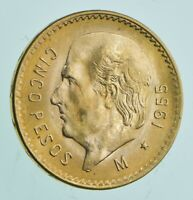 1955 5 PESOS CINCO   MEXICO GOLD COIN 0.1206 T OZ AGW   MEXICAN