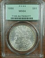 1886 MORGAN $ PCGS MINT STATE 64 VAM-6A  HIGH 6, MULTIPLE CLASHED OBVERSE N   PCGS OGH