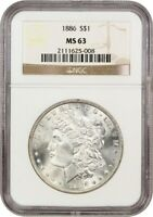 1886 MORGAN $ NGC MINT STATE 63 VAM-6A  HIGH 6,  CLASHED  N   NGC OLD HOLDER