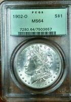 1902-O MORGAN PCGS MINT STATE 64 OGH VAM-93 NEAR DATE, DOUBLED PROFILE, 2 OLIVE REVERSE