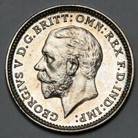 1927 KING GEORGE V GREAT BRITAIN SILVER PROOF THREEPENCE THR