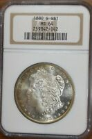 1880-S MORGAN $1 NGC MINT STATE 64 FROSTY PL SURFACES VAM-37B TONED BEAUTY